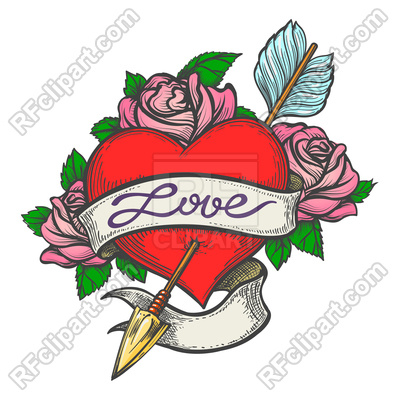 400x400 Heart Pierced By Arrow With Ribbon In Tattoo Style Royalty Free