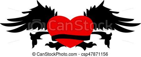 450x183 Retro Heart Wings For Tattoo Design. Retro Heart