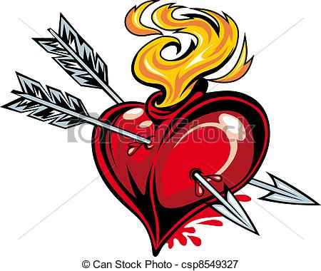 450x380 Cartoon Red Heart With Two Arrows For Tattoo Design Vectors