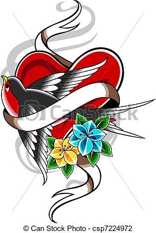 314x470 Swallow Flower Heart Tattoo Clip Art