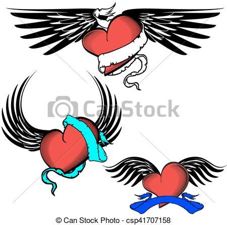 450x447 Tribal Winged Tattoo Heart Set16. Tribal Winged Tattoo Heart