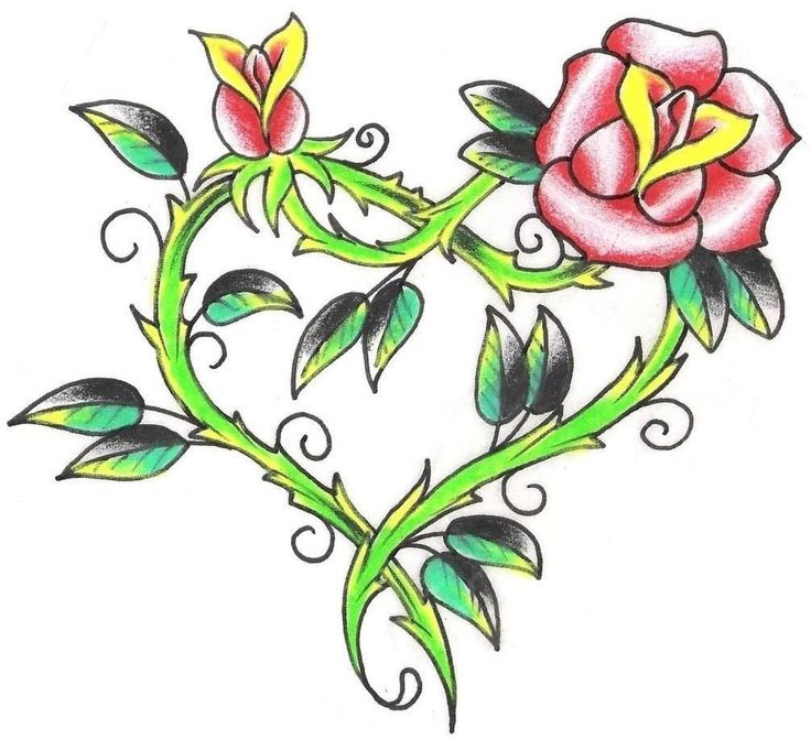 736x681 Collection Of Latest Vine Heart Tattoo Design