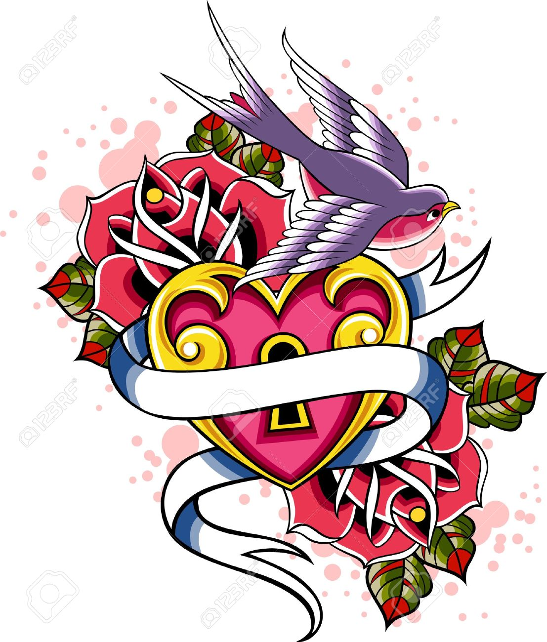 1107x1300 Collection Of Rose Heart With Banner Tattoo Design