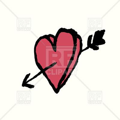 400x400 Hand Drawn Heart And Arrow Royalty Free Vector Clip Art Image