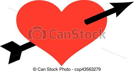 450x244 Heart With Black Arrow Vectors Illustration