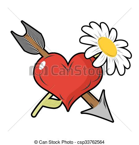 450x470 Love And Flower. Red Heart And Arrow. Daisy Field Flower . Clip