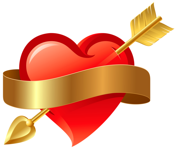 600x510 Red Heart With Arrow Png Clipart. Months~february