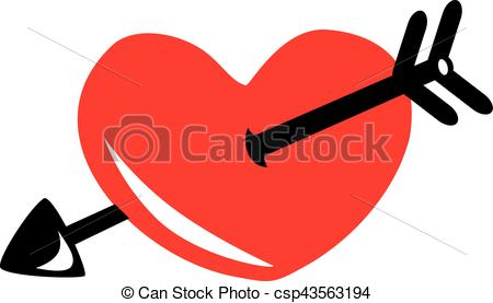 450x277 Red Heart With Black Arrow Icon Eps Vectors