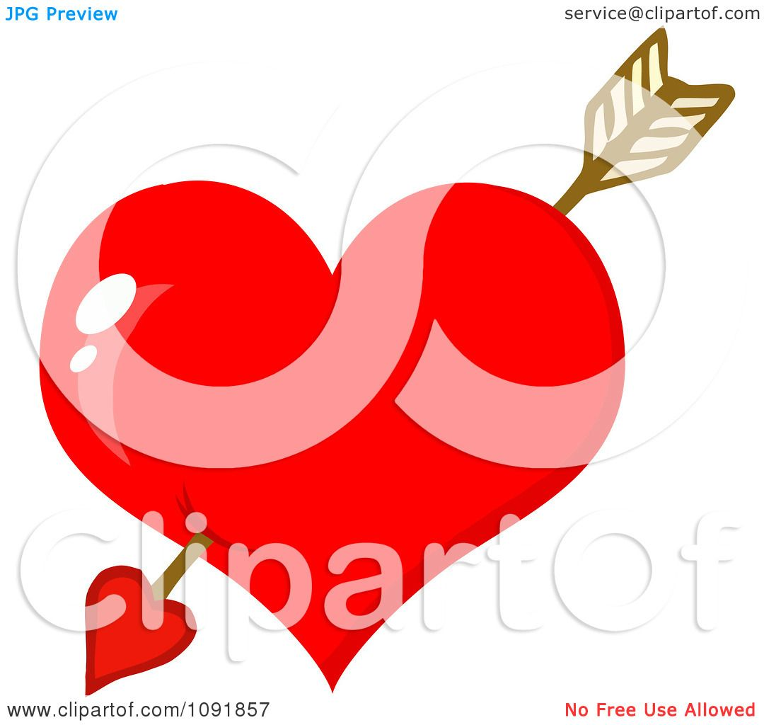 1080x1024 Clipart Cupids Arrow Through A Shiny Red Valentine Heart