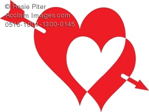 300x225 Clipart Illustration Of Two Hearts Pierced With An Arrow