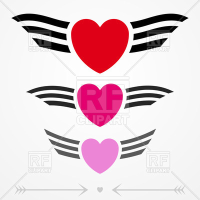 400x400 Graphic Love Emblems With Hearts And Wings Royalty Free Vector