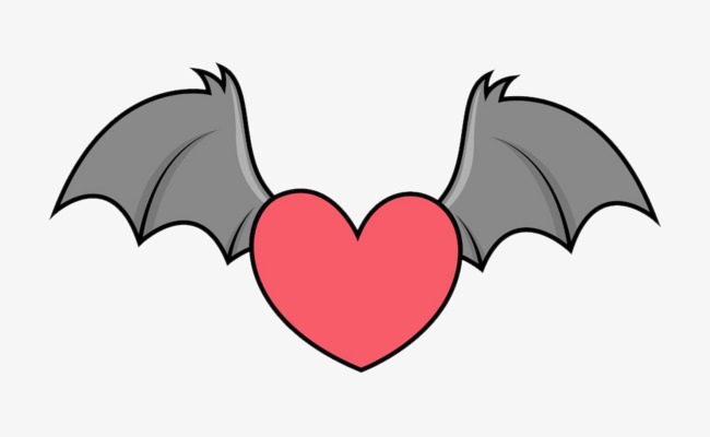 650x400 Heart Bat Wings, Love, Heart, Wing Png And Psd File For Free Download