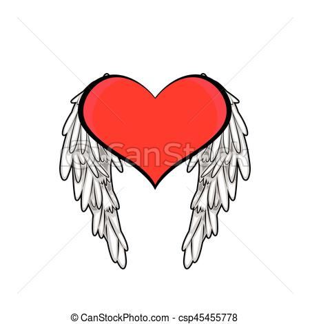 450x470 Heart And Wings Vectors Illustration
