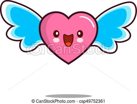 450x341 Heart Cartoon Character Icon Kawaii With Wings Flat Design Clip