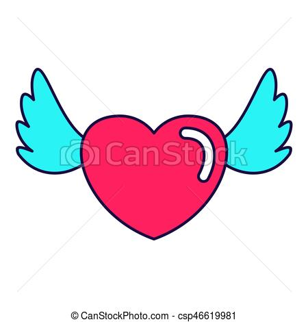 450x470 Heart Love Wings Lines Icon. Fashion Patch, Pin Badges Set