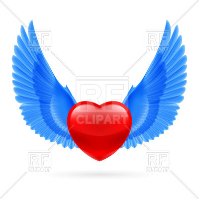 400x400 Heart With Raised Blue Wings Royalty Free Vector Clip Art Image