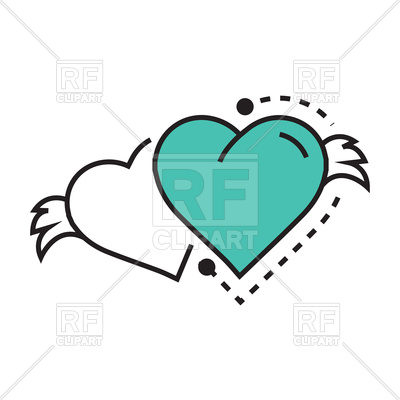 400x400 Icon Of White And Blue Hearts With Wings Royalty Free Vector Clip