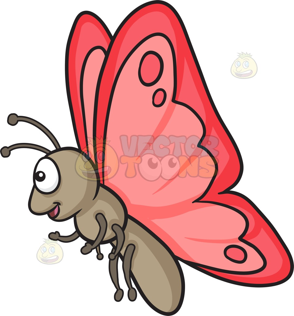 955x1024 A Happy Butterfly With Red Wings Cartoon Clipart Vector Toons