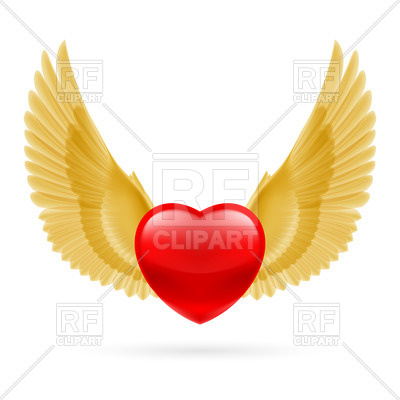 400x400 Red Heart With Raised Golden Wings Royalty Free Vector Clip Art