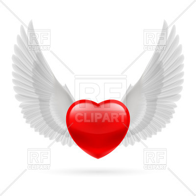 400x400 Red Heart With White Raised Angel Wings Royalty Free Vector Clip