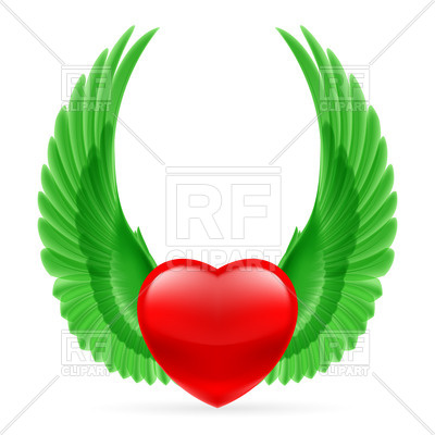 400x400 Shiny Heart With Bright Green Wings Up Royalty Free Vector Clip