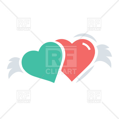 400x400 Two Hearts With Wings Red And Green Color Royalty Free Vector Clip