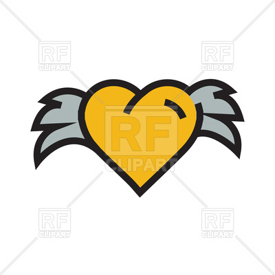 400x400 Yellow Hearts With Wings On White Background Royalty Free Vector