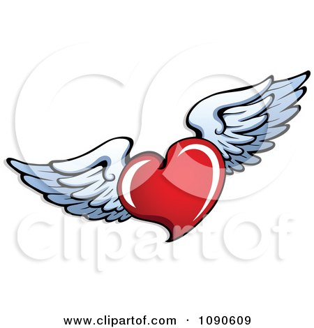 450x470 Clipart Red Heart With White Wings