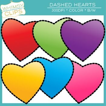 350x350 The Dashed Hearts Clip Art Freebie Includes 6 Color Images And 2