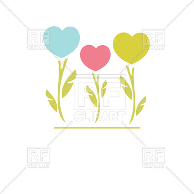 400x400 Three Abstract Flower Looking Hearts Royalty Free Vector Clip Art