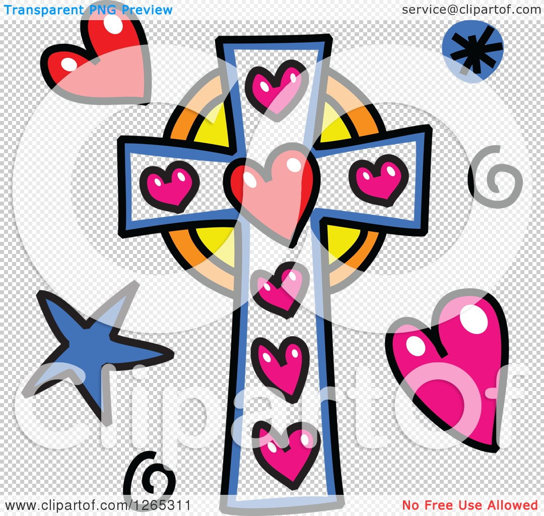 1080x1024 Clipart Of A Doodled Christian Cross With Hearts Spirals And Stars