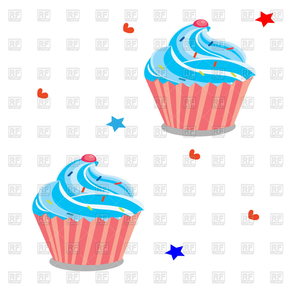 1200x1200 Cupcake With Blue Cream On Background With Stars And Hearts