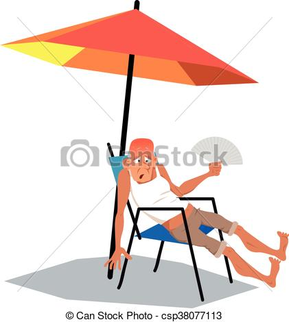 421x470 Heat Wave. Mature Man, Exhausted From An Intence Heat, Vector