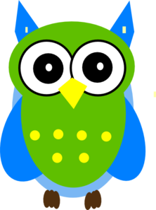 222x297 Green And Blue Owl Clip Art