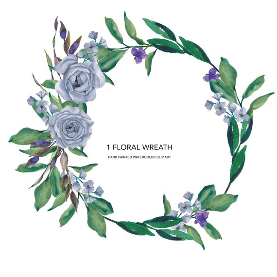 570x571 Heather Blue Roses Watercolor Wreath Clipart Hand Painted