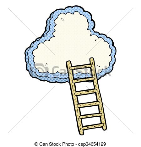 449x470 Freehand Drawn Cartoon Ladder To Heaven Vector Illustration