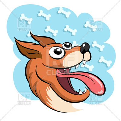 400x400 Lucky Dog Against Bone Heaven Royalty Free Vector Clip Art Image