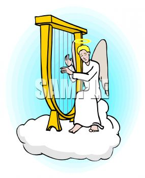 285x350 Angel, Sitting On A Cloud In Heaven, Playing A Harp