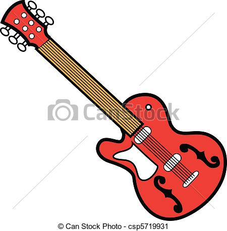 450x458 Guitar Red. Red Rock And Roll, Blues Or Heavy Metal Guitar. Vector