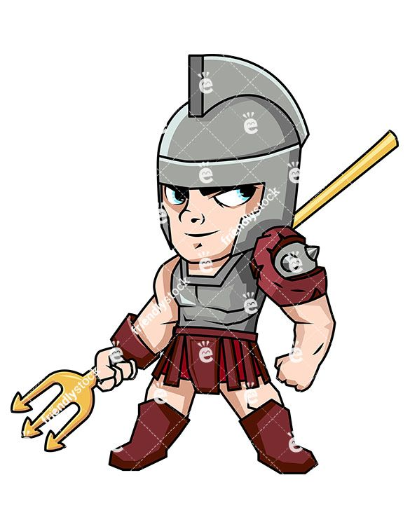 585x755 Retiarii Gladiator With His Trident Vector Cartoon Clipart