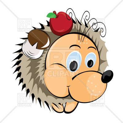 400x400 Hedgehog With Apple And Mushroom On His Needles Royalty Free