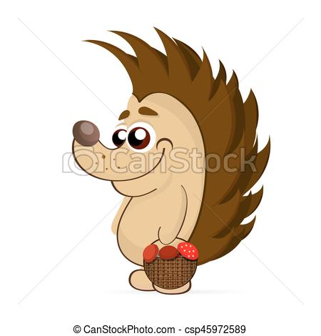 450x470 Vector Illustration Of Cute Hedgehog Isolated On White Vector