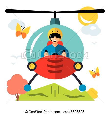 450x470 Vector Helicopter Pilot. Flat Style Colorful Cartoon Vector