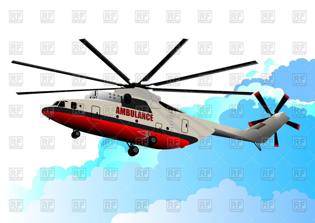 1200x850 Ambulance Helicopter In Sky Background (Side View) Royalty Free