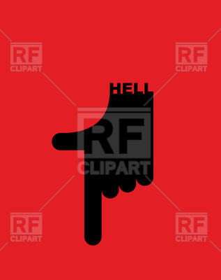 317x400 Hell Pointer Hand. Direction Down. Pointing Gesture. Royalty Free