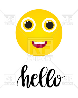 320x400 Happy Smile Icon And Text Hello Royalty Free Vector Clip Art Image