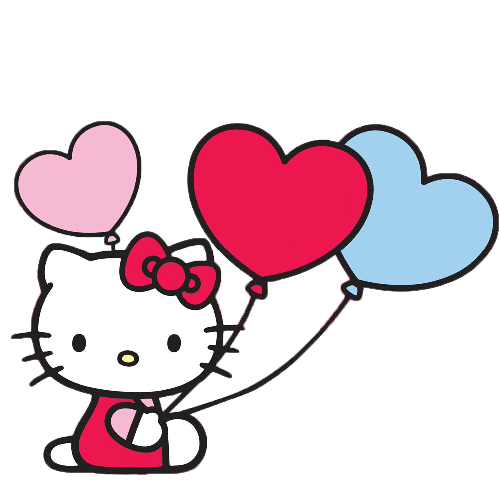 1000x1000 Hello Kitty With Balloons Transparent Png