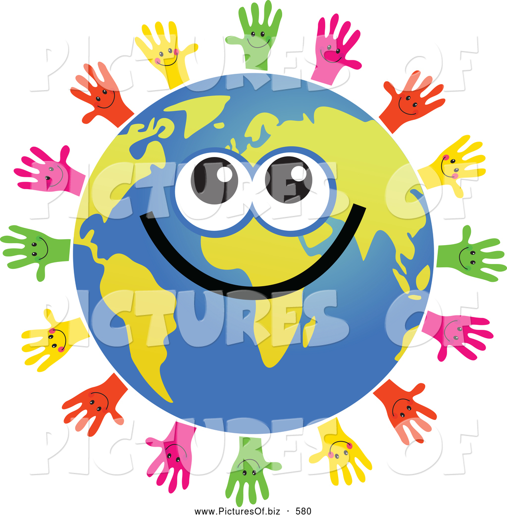1024x1044 Clipart Of A Global Face Character Surrouned By Helping Hands By