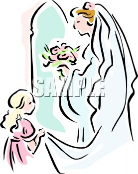 277x350 Flower Girl Helping A Bride With Her Train
