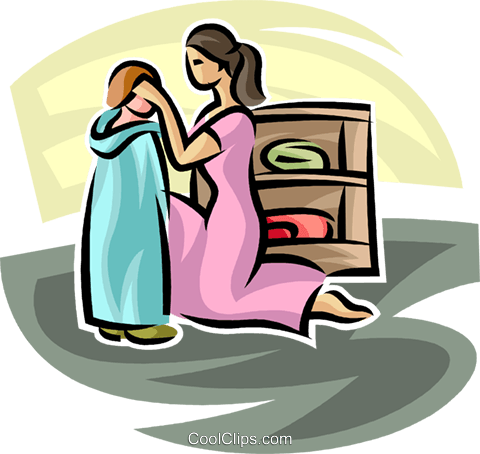 480x454 Mother Helping Dress A Young Child Royalty Free Vector Clip Art